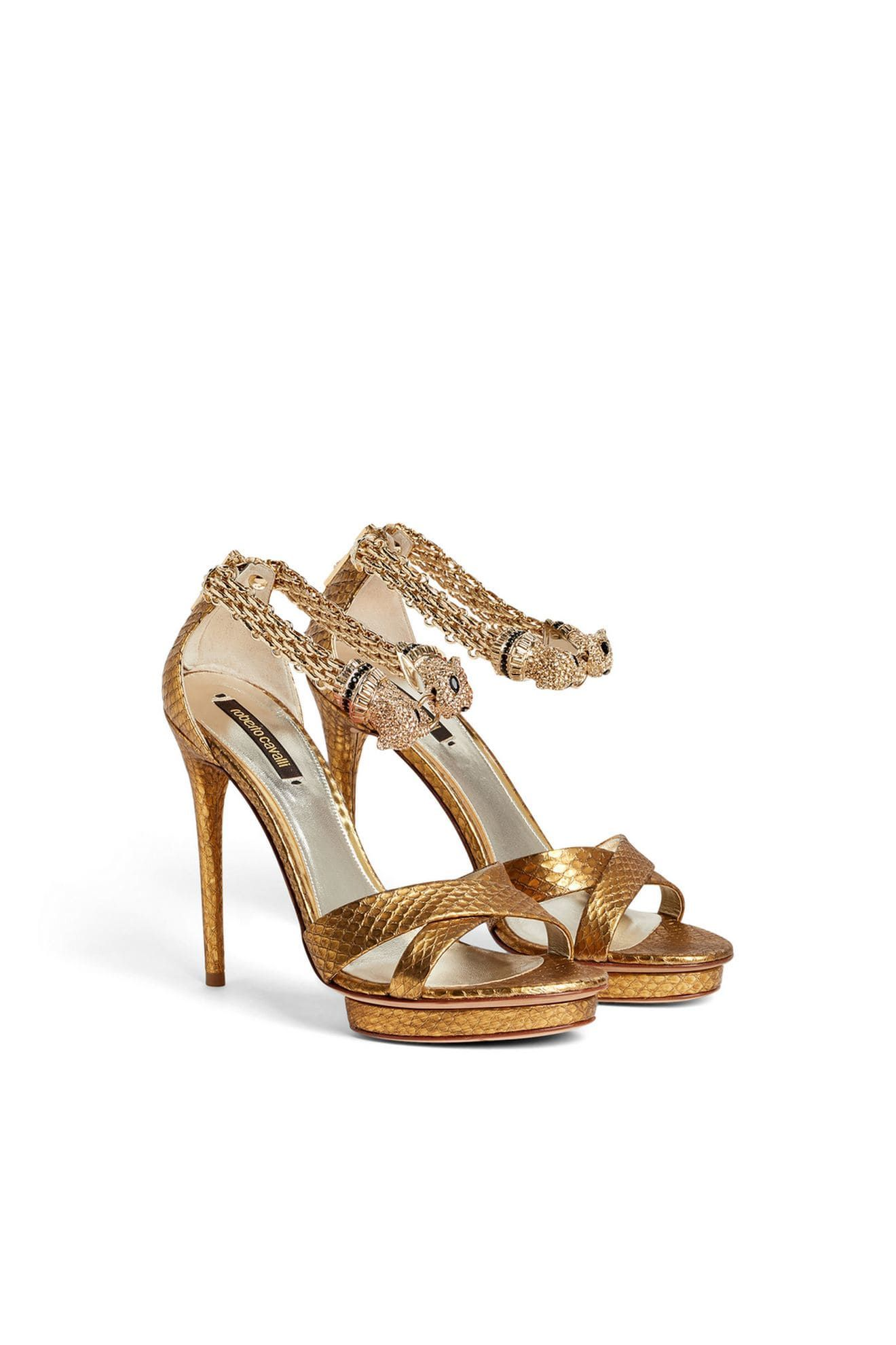 071f0140ce Gold goatskin and snakeskin Jewel panther 120 sandals from Roberto Cavalli  featuring an open toe, crossover straps to the front, a branded insole, ...