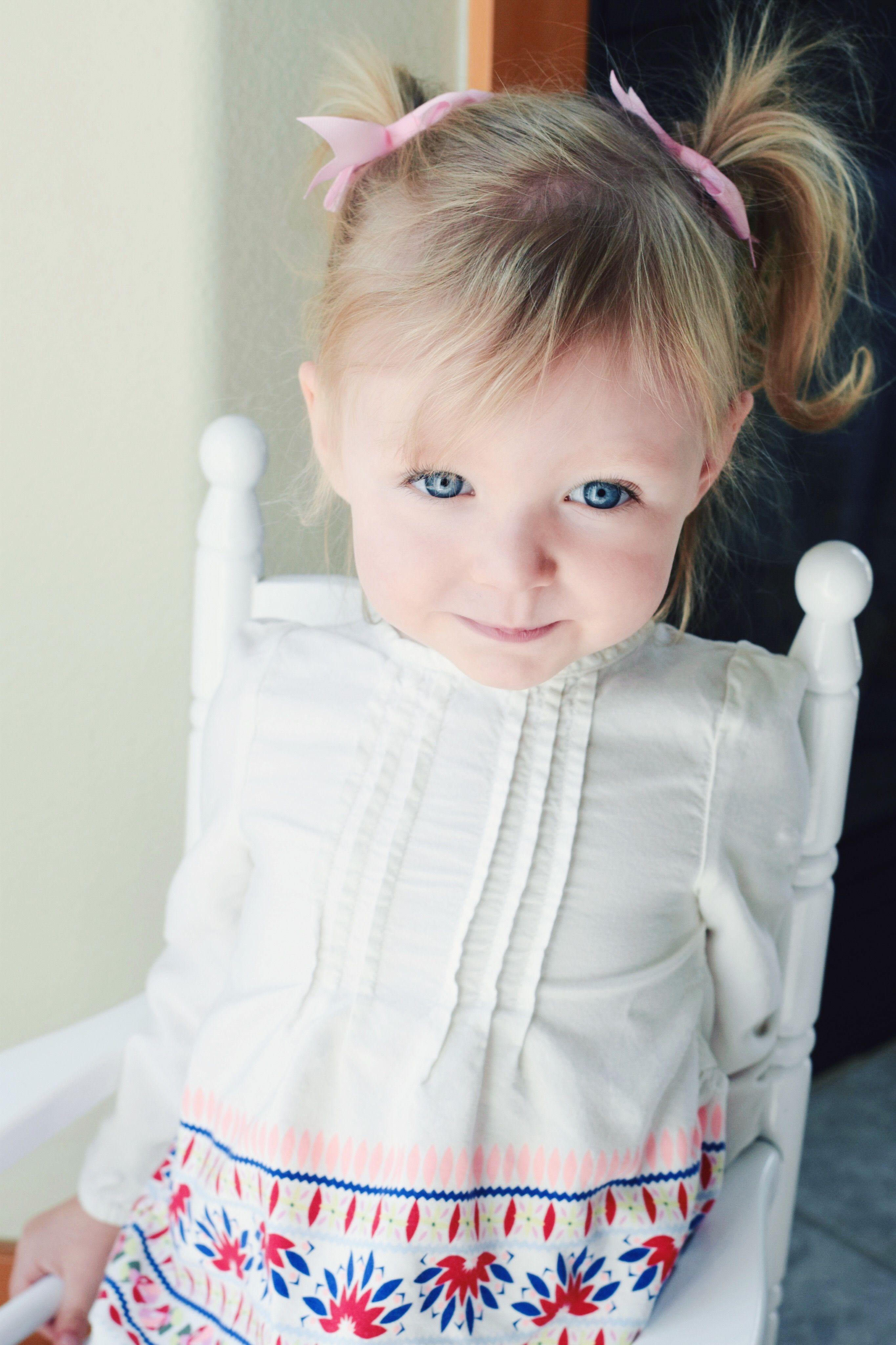 Little Girl Blue Eyes Blonde Hair Toddler Girl Baby