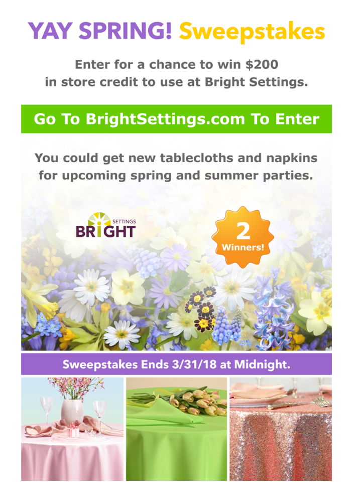 YAY SPRING! Sweepstakes — Enter for a chance to win a $200