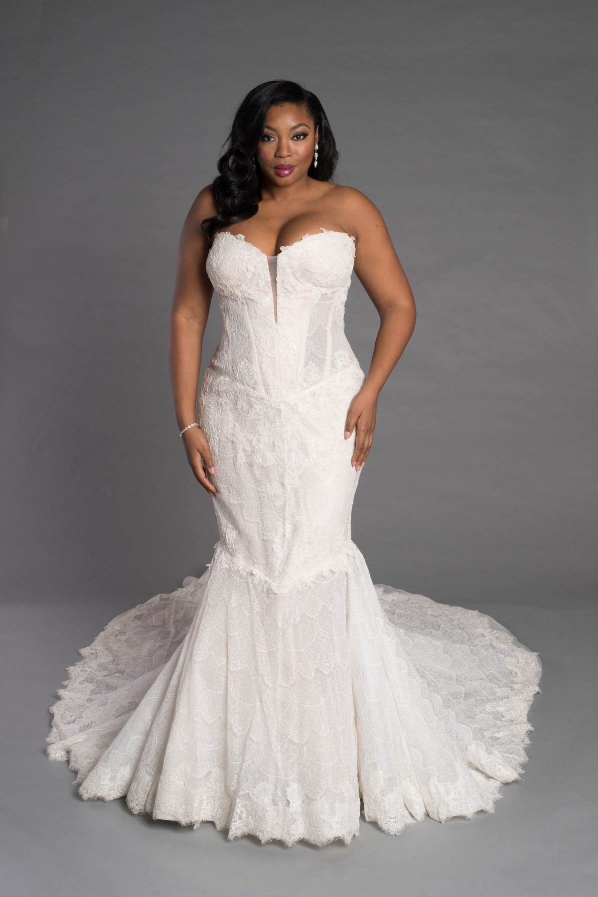 Corseted lace sheath with dropped waist and train pnina tornai
