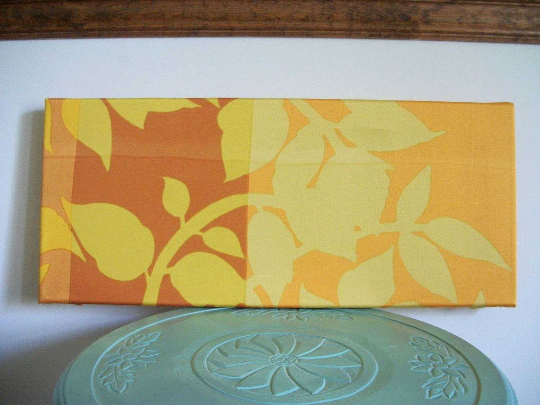 Fabric Stretched Art / Wall Hanging - Marimekko WI yellow - leaf ...