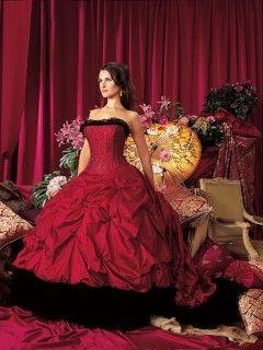 0c941e5ba23 Robe de Mariée Rouge Noir Ballon Longue Bustier Organza Perles Traîne  Chapelle Robe Mariage Rouge