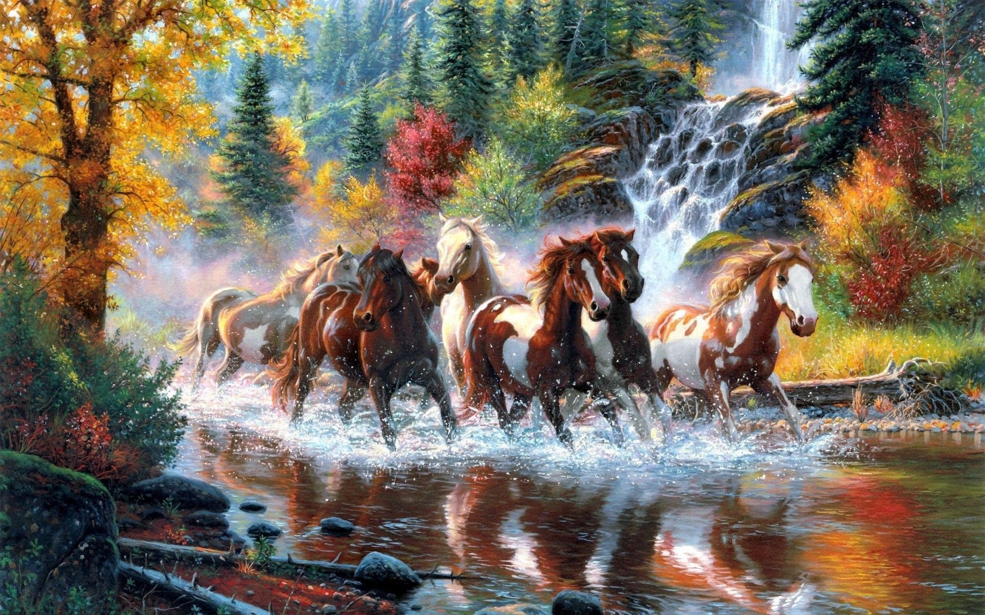 Beautiful Horses Running In River Waters Animal Wallpapers Hd Wallpaper Download For Ipad And Iphone Widescreen Horse Painting Cross Paintings Running Horses