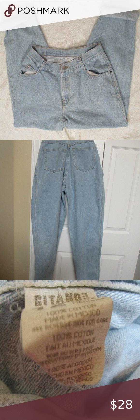 Gitano High Waist Taper Mom Jeans Light Wash