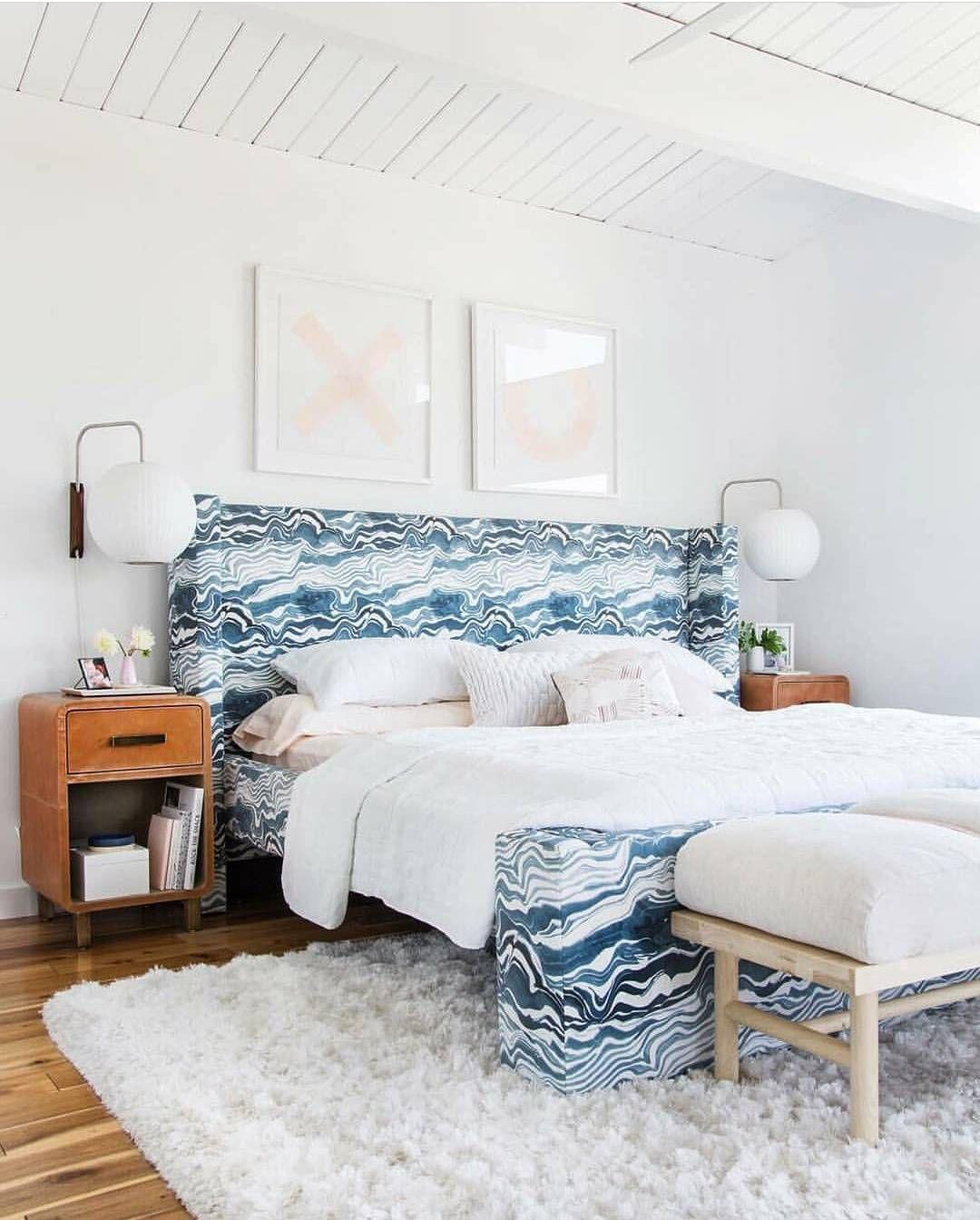 Master bedroom art above bed  Night stands bench carpet light and art inspiration  Interior