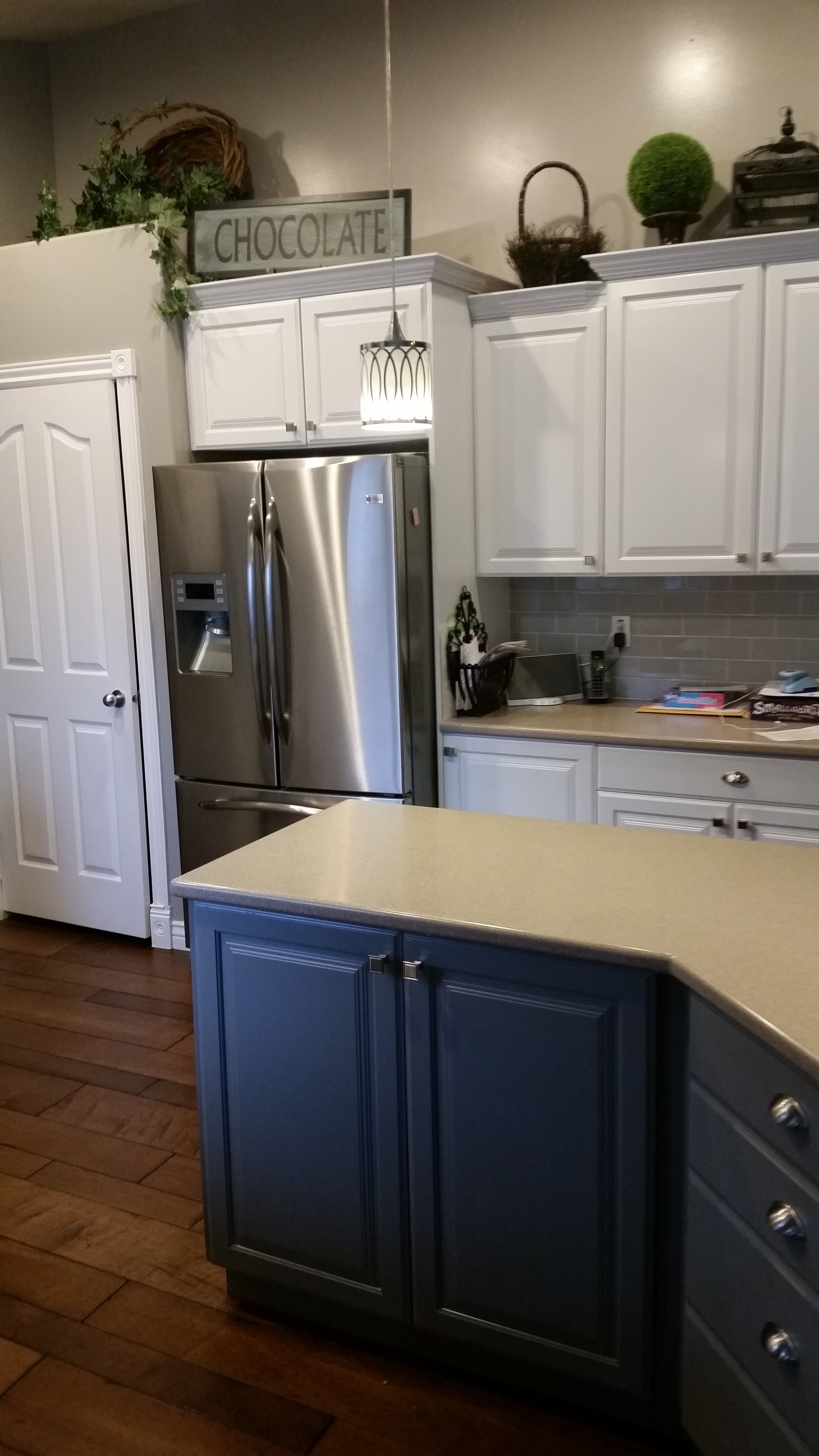 Refinished Kitchen Cabinets In Sw Pure White Island In Sw