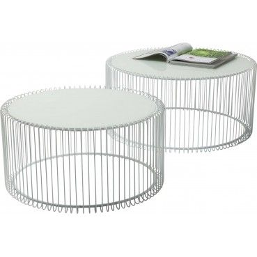 Tables Basses Rondes Wire Blanches Set De 2 Kare Design Table