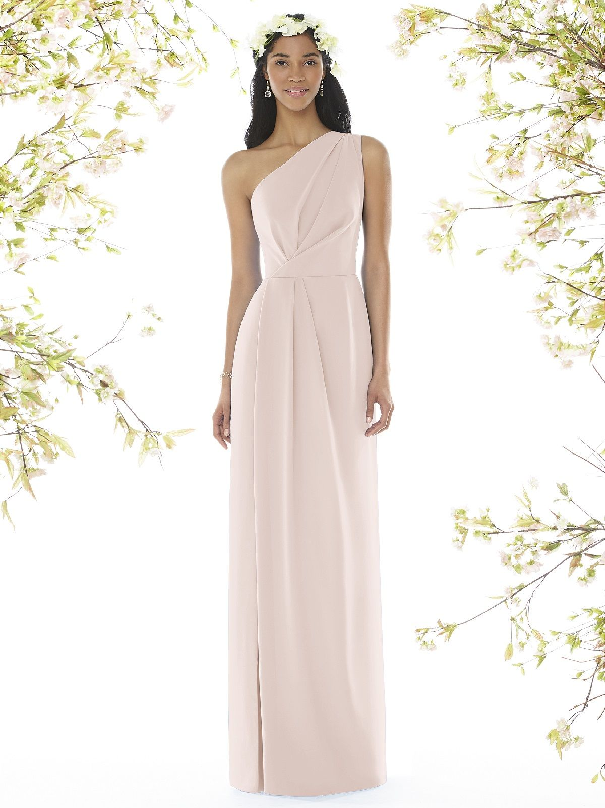 498dab67f97 Full length one shoulder bridesmaid dress in nu-georgette has draped detail  at bodice and skirt. This style is Special Order and ships in weeks.