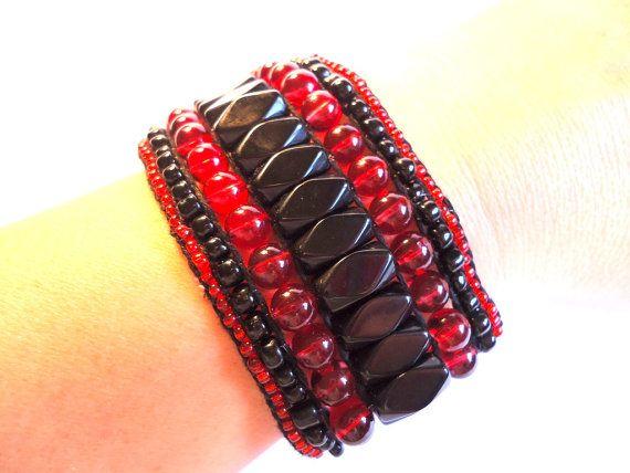 unique handmade bracelet in red and black by VazJewelryOriginals