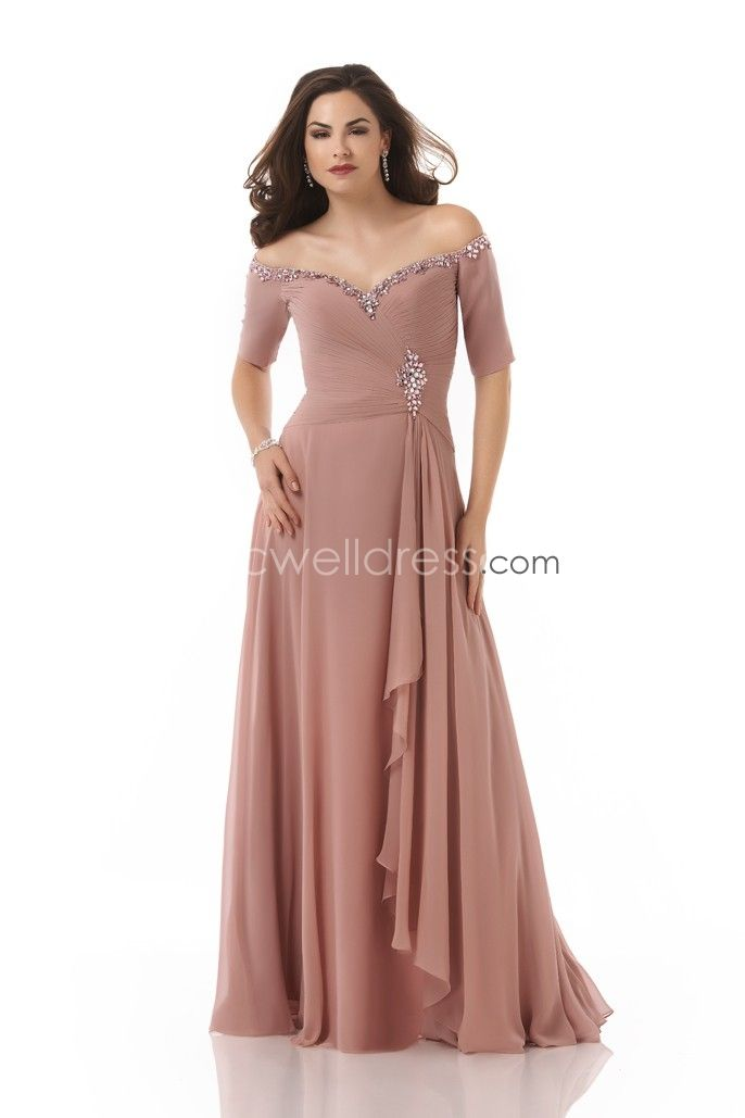 A-line Off-the-shoulder Chiffon Ruched Floor Length Zipper Up Mother of the  bride dresses/ Wedding Guest Dresses