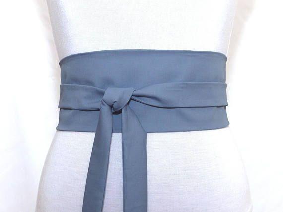 487762ea3fde Polina Couture - Ceinture Obi bleu jean, légèrement gris. Gabardine de coton  Haute Couture