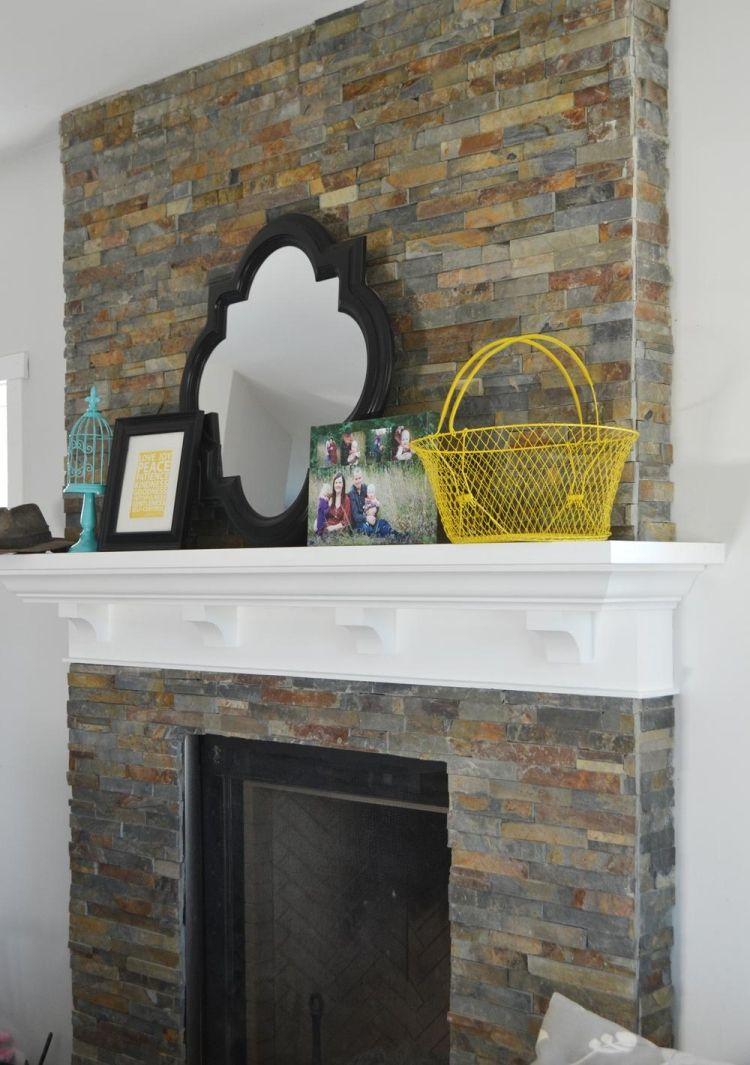 kaminumrandung selber bauen dekokamin kamin wandverkleidung naturstein deko spiegel weiss grau. Black Bedroom Furniture Sets. Home Design Ideas