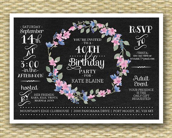 Chalkboard birthday invitation 40th birthday invite floral wreath chalkboard birthday invitation 40th birthday by sunshineprintables filmwisefo Choice Image