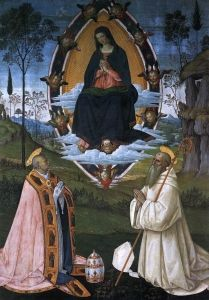 The Ascended Virgin with Sts Gregory the Great and Benedict Bernardino Pinturicchio - 1512, Approximately 58 years old.