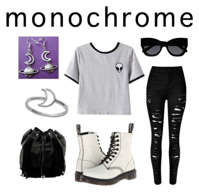 """""""Space monochrome"""" by mandy23b ❤ liked on Polyvore featuring Chicnova Fashion, Dr. Martens, Steve Madden, Karen Walker, Midsummer Star and monochrome"""