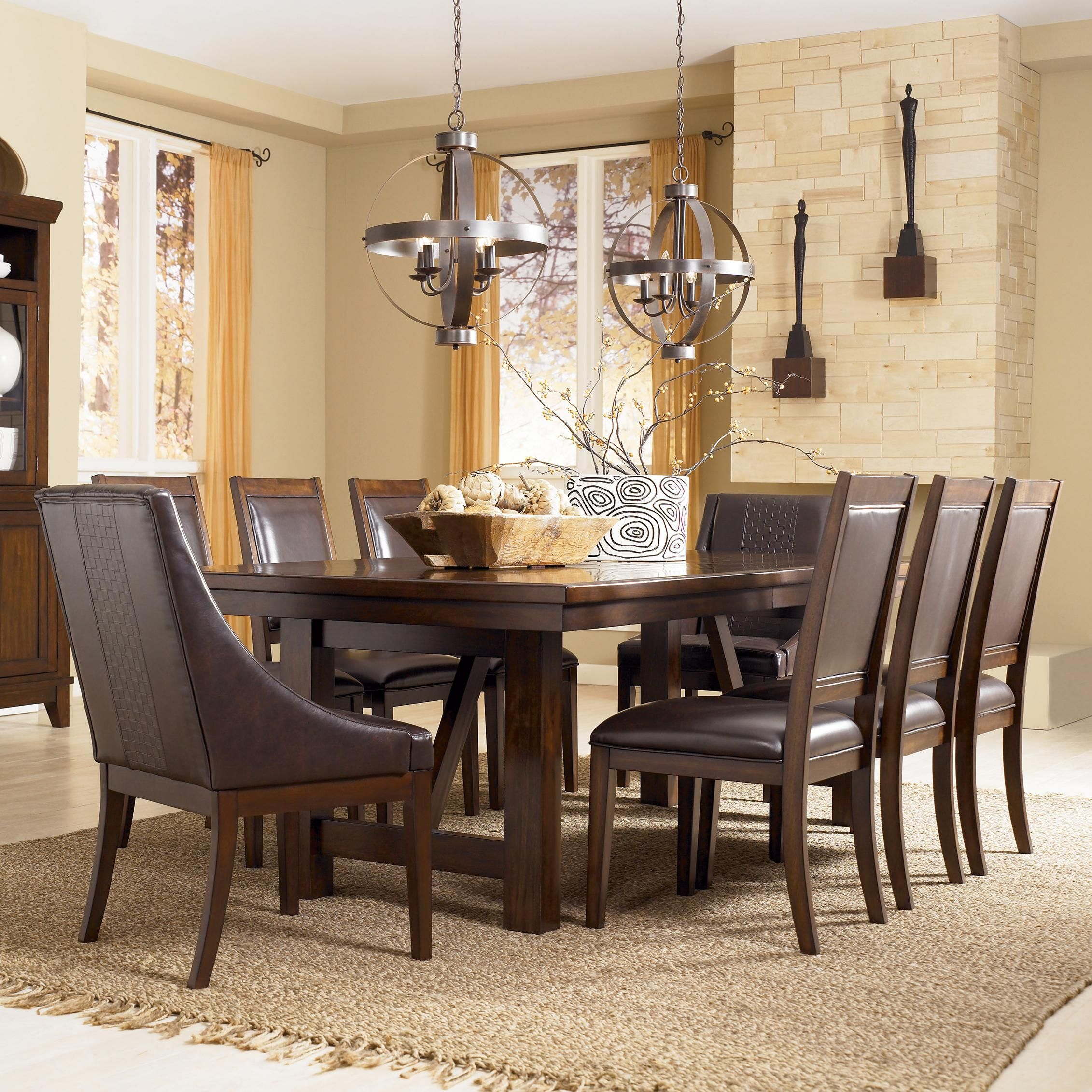 9 piece formal dining room sets tophatorchids com room holloway 9 piece extension table set by ashley millennium new