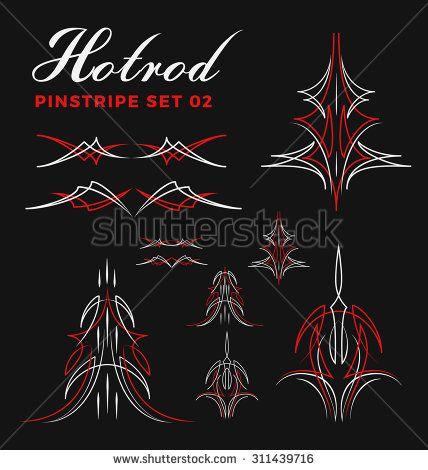 Set Of Vintage Pin Striping Line Art Include Un Expand Path Use