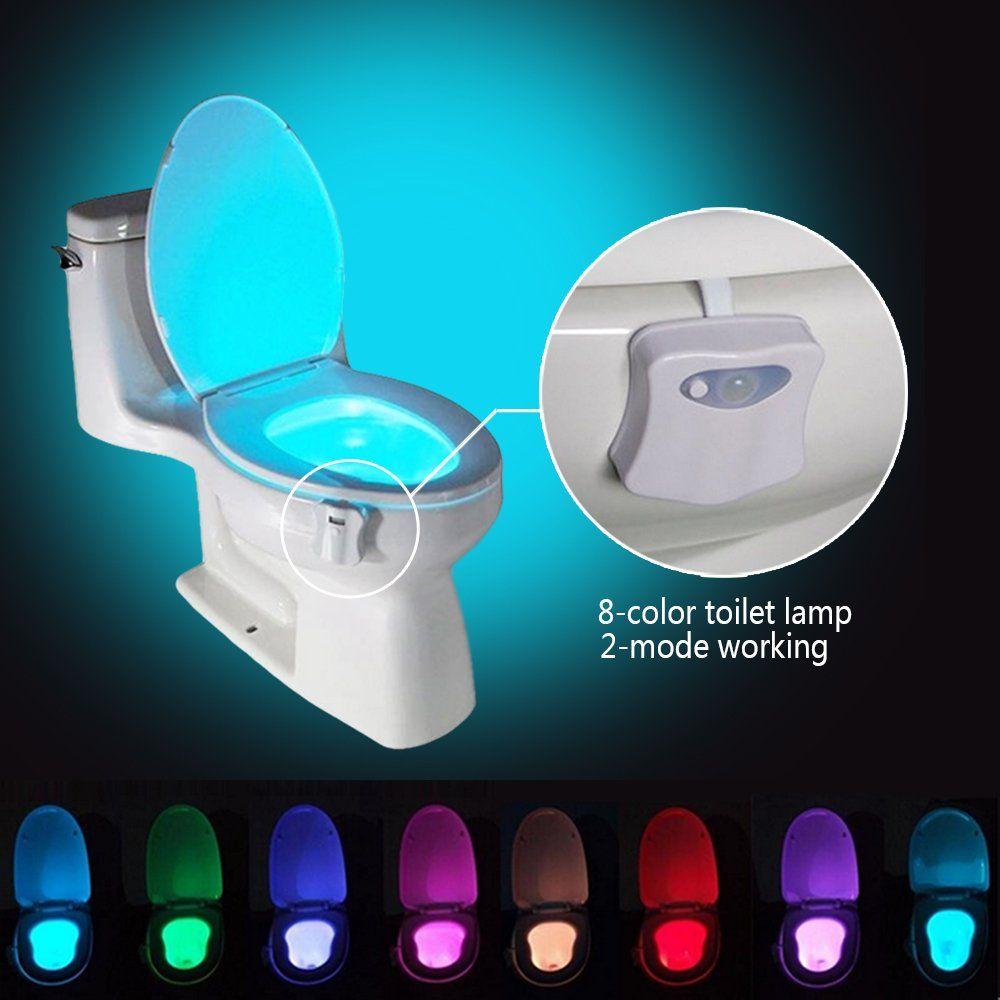 Domini Toilet Night Light Bowl 8color Led Sensor Motionactivated Bathroom Toilet Light For Kids Potty Training In 2020 Night Light Bathroom Night Light Led Night Light
