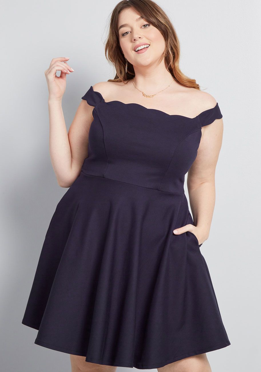 159fa6cc47c ModCloth Forever Fave Off-Shoulder Dress Navy