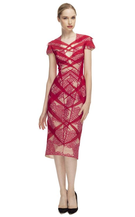 be67ba898f5 Bibhu Mohapatra Coral   Beige Lace Cocktail Dress