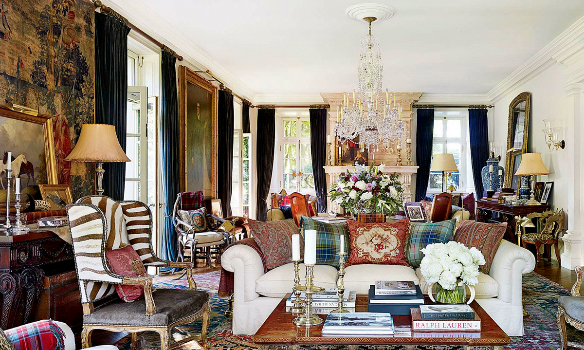 I love everything about this room...the colors, plaids, textures and fabrics, real wood, gold and silver accents.