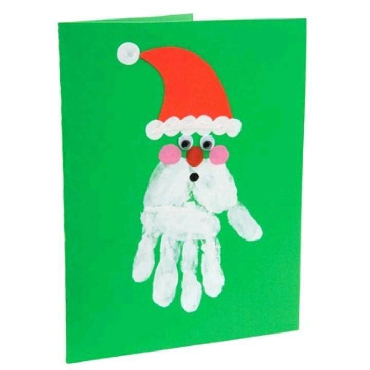 DIY} Carte Père Noël Empreinte Main | Carte noel, Cartes de noël à