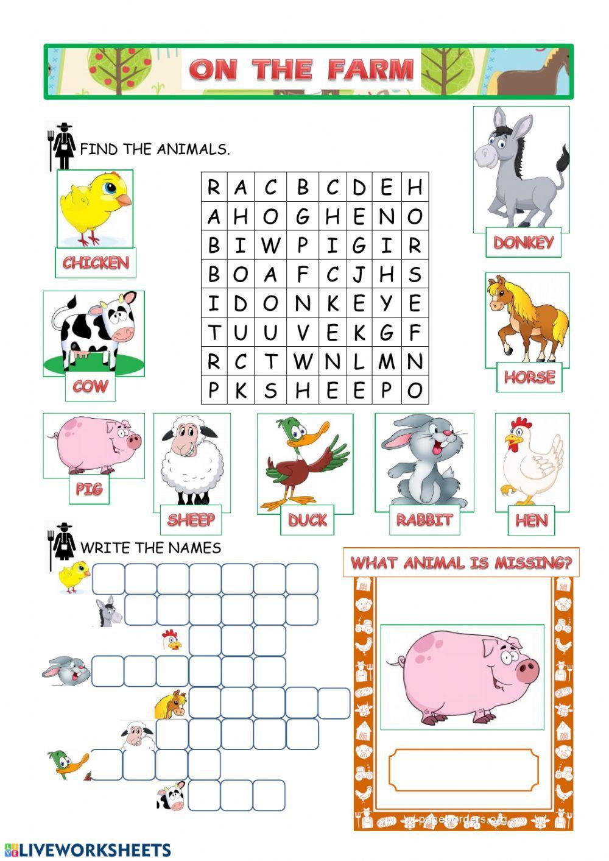 Farm animals Interactive worksheet in 2020 Animal
