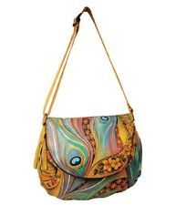 Anuschka Leather - Dancing Peacock  Large Flap-Over Convertible Totes & Shoppers