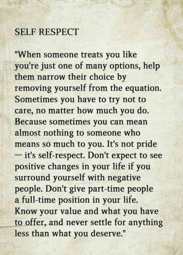 Self respect.
