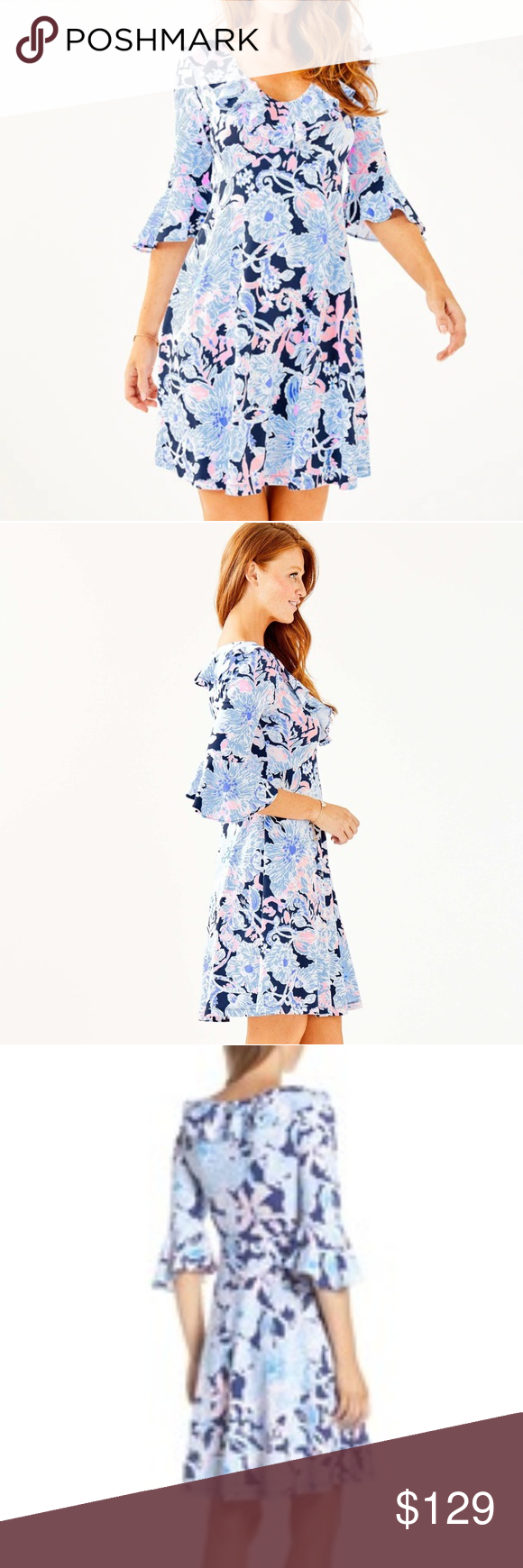 """🌴 NWT Lilly Pulitzer Stirling Dress NEW with tags Stirling Dress in Bright Navy Amore Please.  Impromptu date night? Sushi with friends? The Stirling dress is a feminine knit fit and flare dress with flounce detail along the neckline and sleeves. You get all the comfort of a knit without sacrificing any style!  V-Neck Fit And Flare Dress With Flounce At Neckline And Sleeves.  38"""" From Top Of Shoulder To Hem.  Length: Knee Length.  Rayon Spandex Jersey (96% Rayon, 4% Spandex).  Hand Wash Cold. S"""