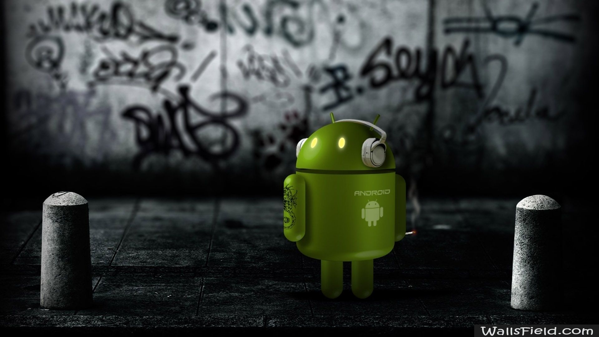 you can view download and comment on android robot listening to music free hd wallpapers