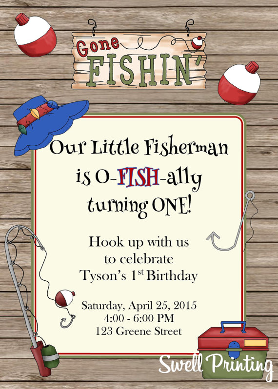Fishing Invitation Gone Birthday Party By Swellprinting