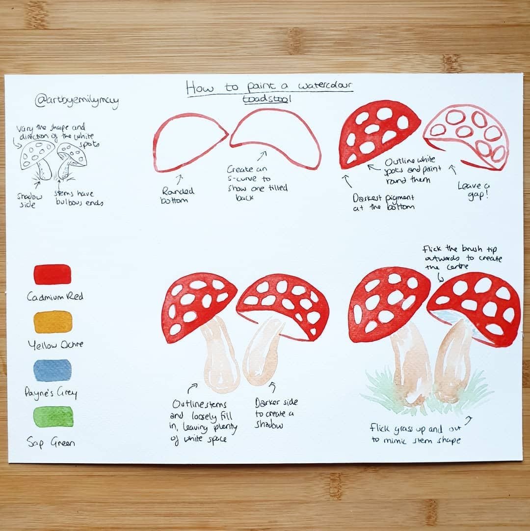 """Emily On Instagram: """"🍄 Watercolour Tutorial 🍄 Here's A"""