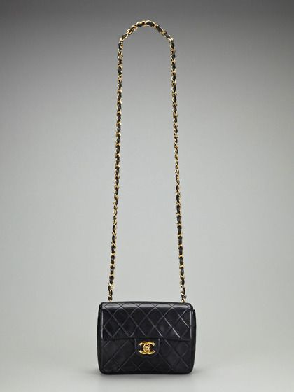 Vintage Black Quilted Lambskin Leather 2 55 Mini Flap Shoulder Crossbody Bag By Chanel On Gilt