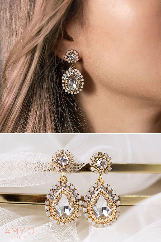 Opal Swarovski Drop Earrings Bridal Earrings Vintage Teardrop Earrings Wedding Boho Wedding Earrings