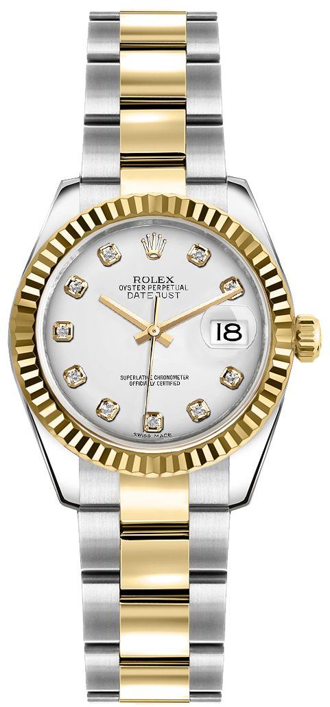 72d03848b902 New Authentic Rolex Oyster Perpetual Womens 26MM Fluted Bezel Steel   Gold  Watch 179173 Luxury Timepieces