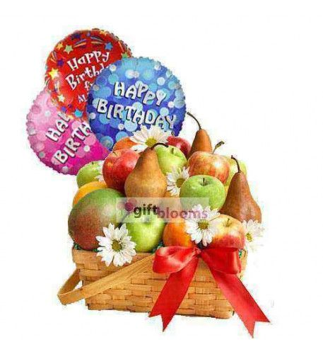Fruity Birthday Show You Care And Love By This Gift Of Balloons With Fruit Basket
