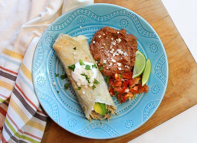 Easy Crockpot Chicken Verde Burritos with Cilantro