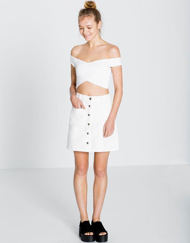 Pull Bear - mujer - denim collection - falda vaquera botones delanteros… ff94d2104513
