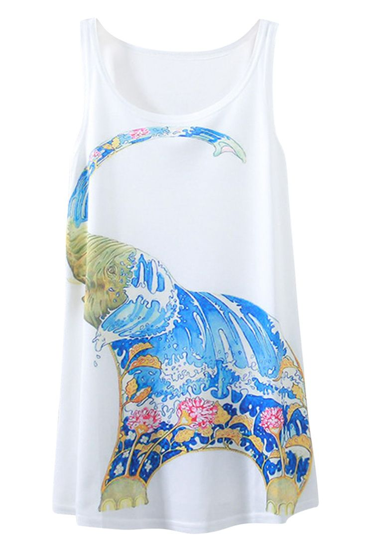 Abstract Elephant Print Sleeveless Summer Tank For Woman