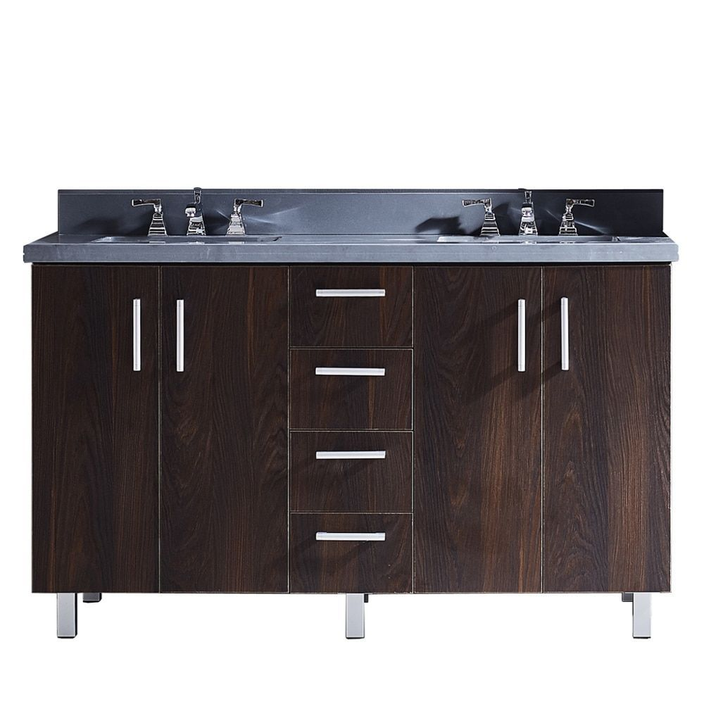 Infurniture 60 Bathroom Vanity with Grey Artificial Marble Top In