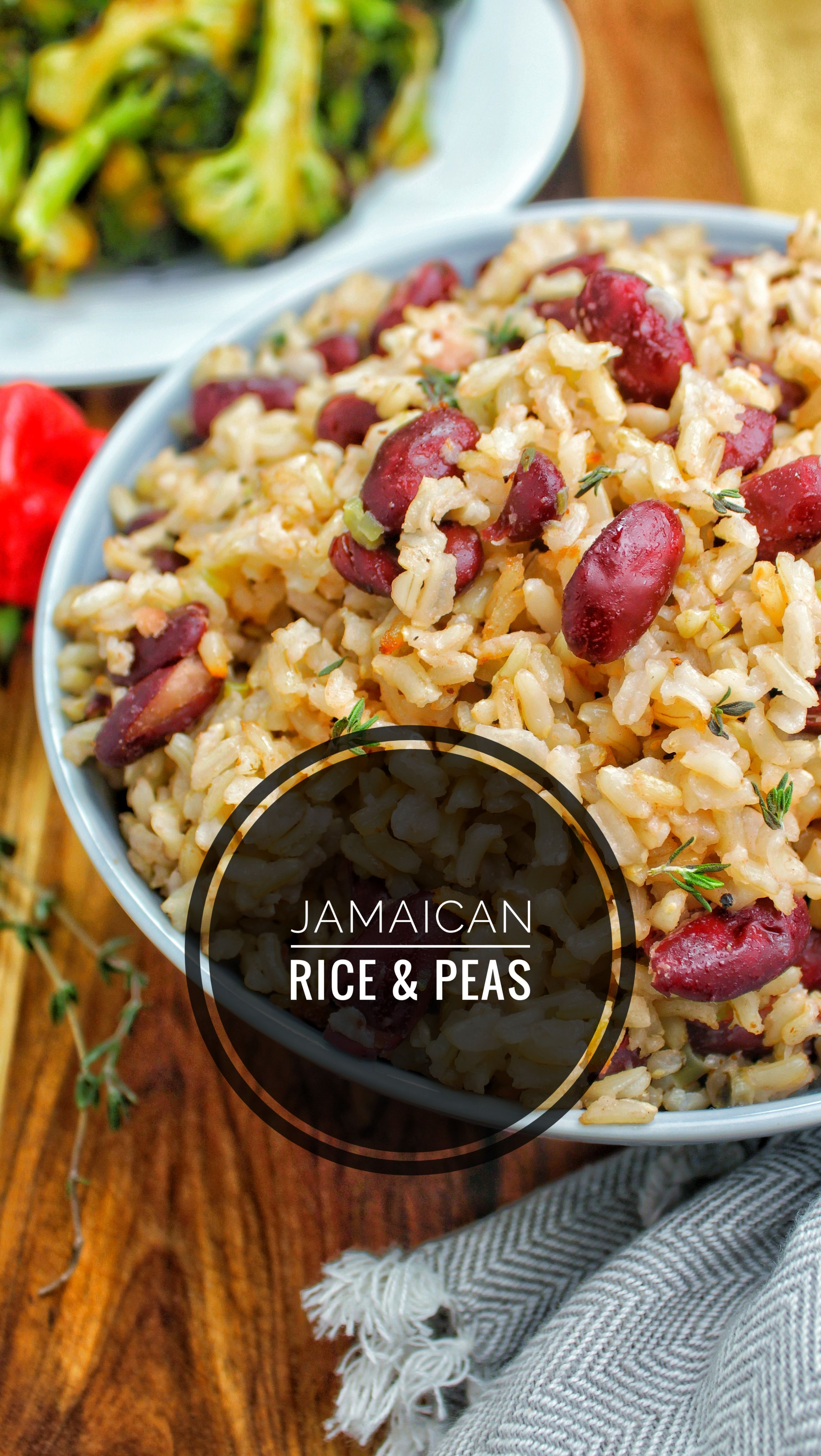 Add some Caribbean flavor to your next meal with this Jamaican rice & peas.  The rice is cooked in coconut milk with the beans and scotch bonnet pepper.  Yum!   Follow the link below for the full recipe and nutrition information.