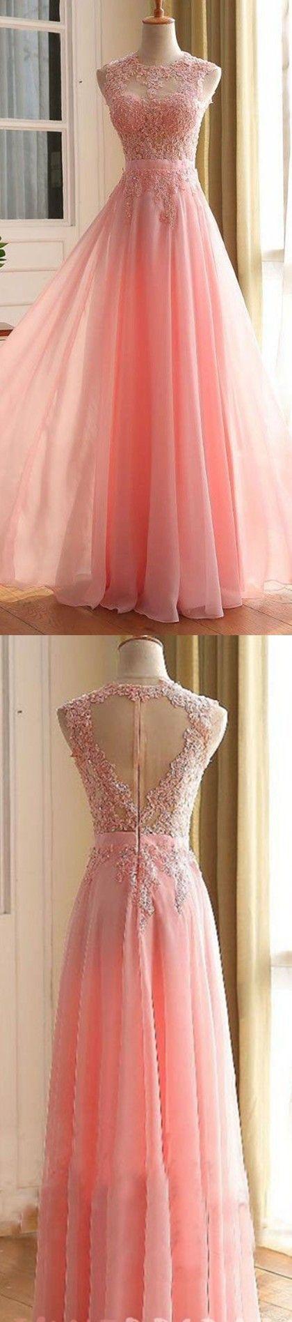 Charming Long Prom Dress, Appliques Pink Prom Dress,Elegant Prom ...