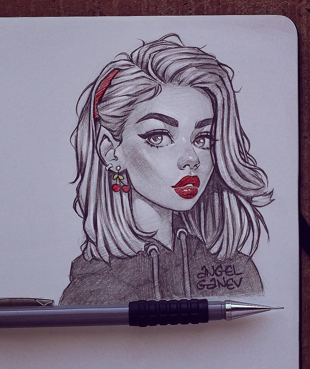 Angel Ganev On Instagram Eyy It S Ya Girll Snitchery One Of My Favorite Models To Art Drawings Sketches Creative Girl Drawing Sketches Cartoon Drawings