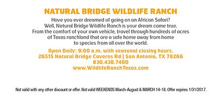 Natural Bridge Wildlife Ranch Coupon Natural Bridge Wildlife Ranch