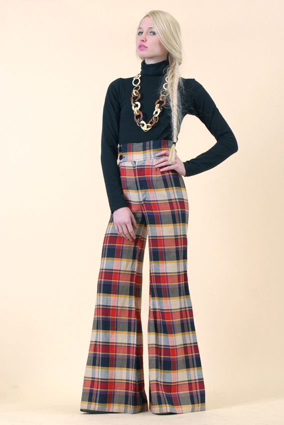 bell bottoms Plaid