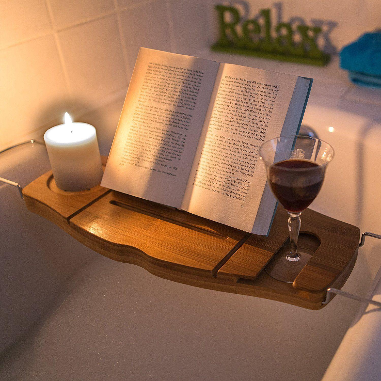 Relaxdays Bathtub Caddy Bath Tray With Book Stand: 17.5 x 70 x 21.5 ...