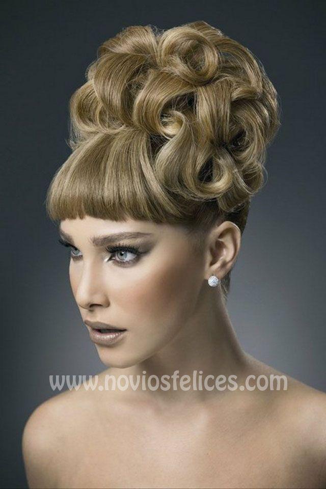 recogidos puntas rizadas moo alto flequillo bodas cabello peinados recojidos peinados altos alto peinado