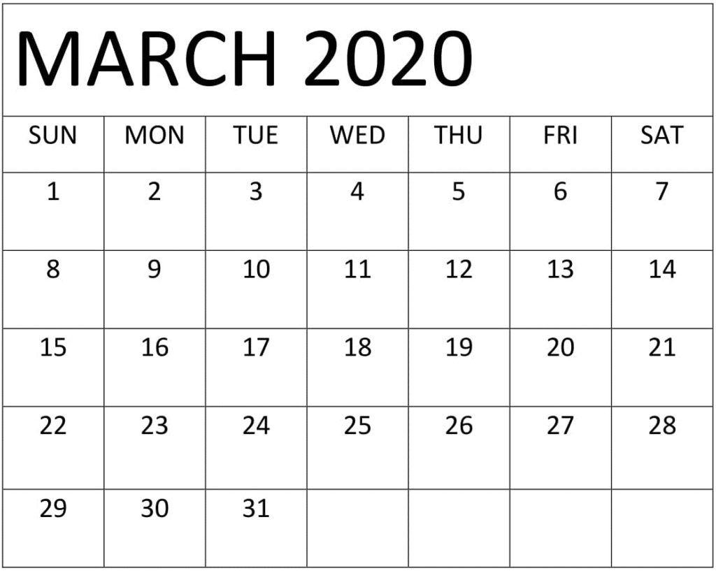 Blank March 2020 Calendar Pdf In 2020 Free Printable Calendar