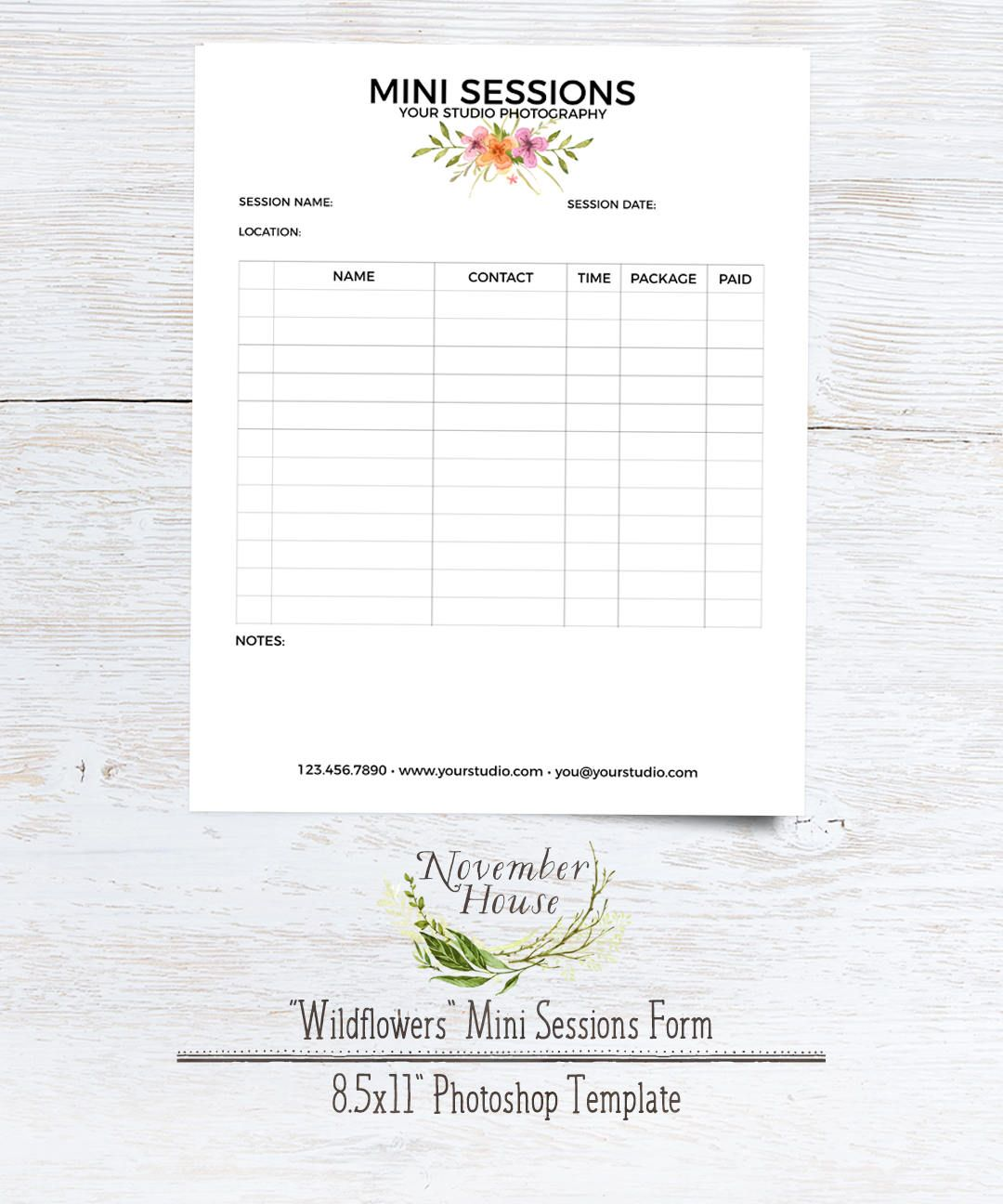 Mini Session Sign Up Form Plus Studio Stationery Template